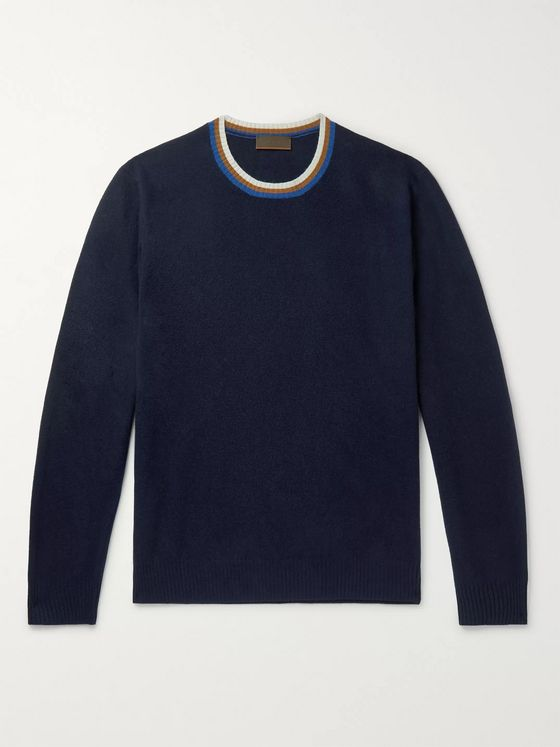 Altea Slim-Fit Stripe-Trimmed Virgin Wool and Cashmere-Blend Sweater