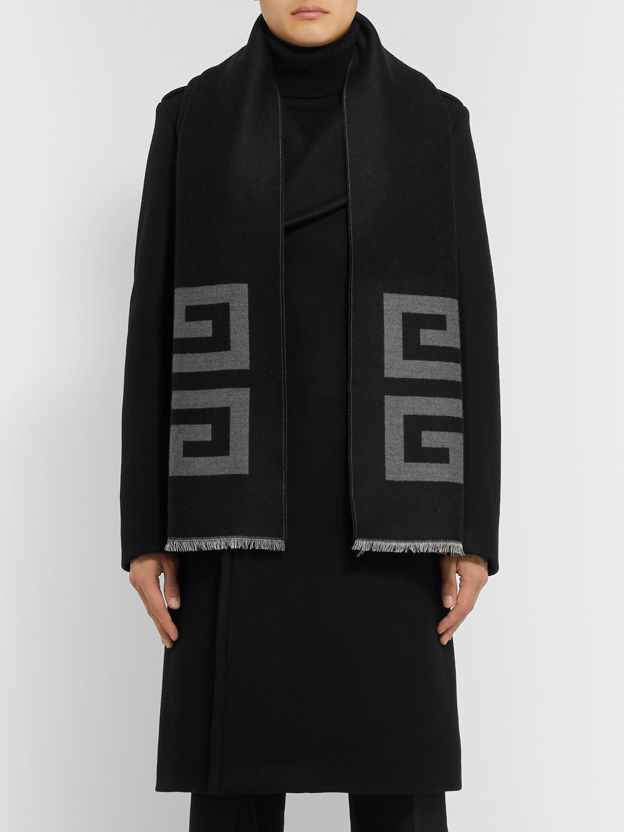 Givenchy Fringed Logo-Intarsia Wool and Silk-Blend Scarf