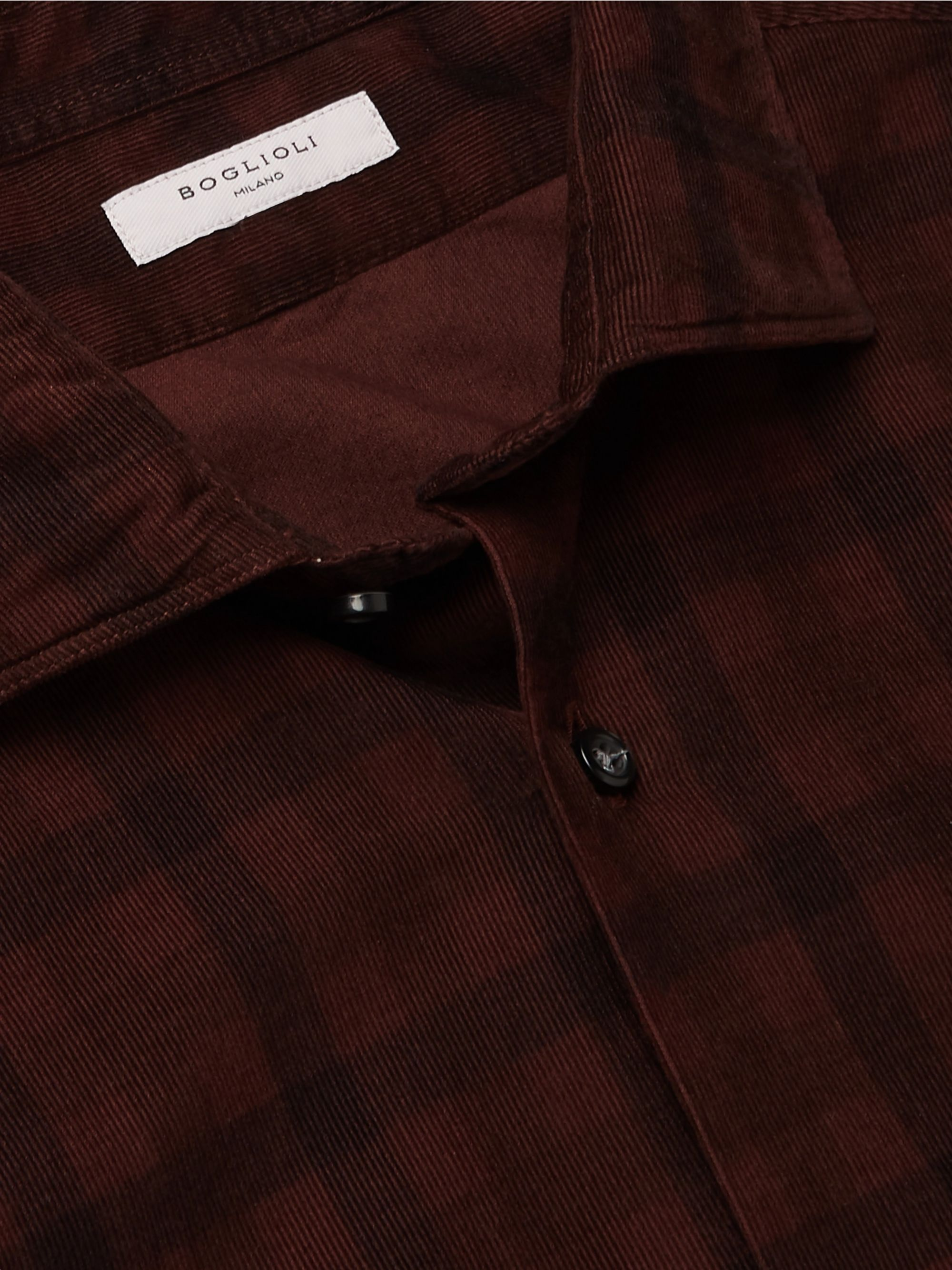 Boglioli Slim-Fit Checked Cotton-Corduroy Shirt