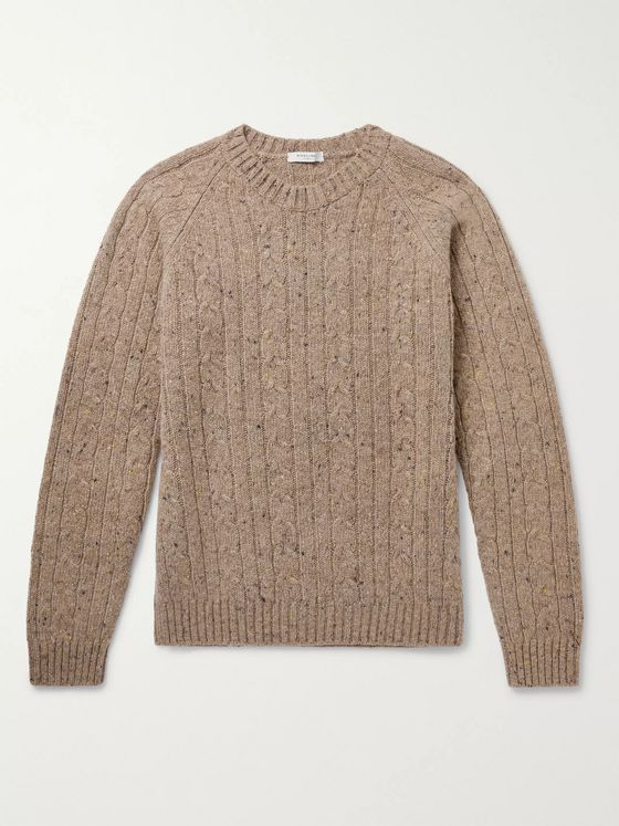 Boglioli Cable-Knit Donegal Wool-Blend Sweater