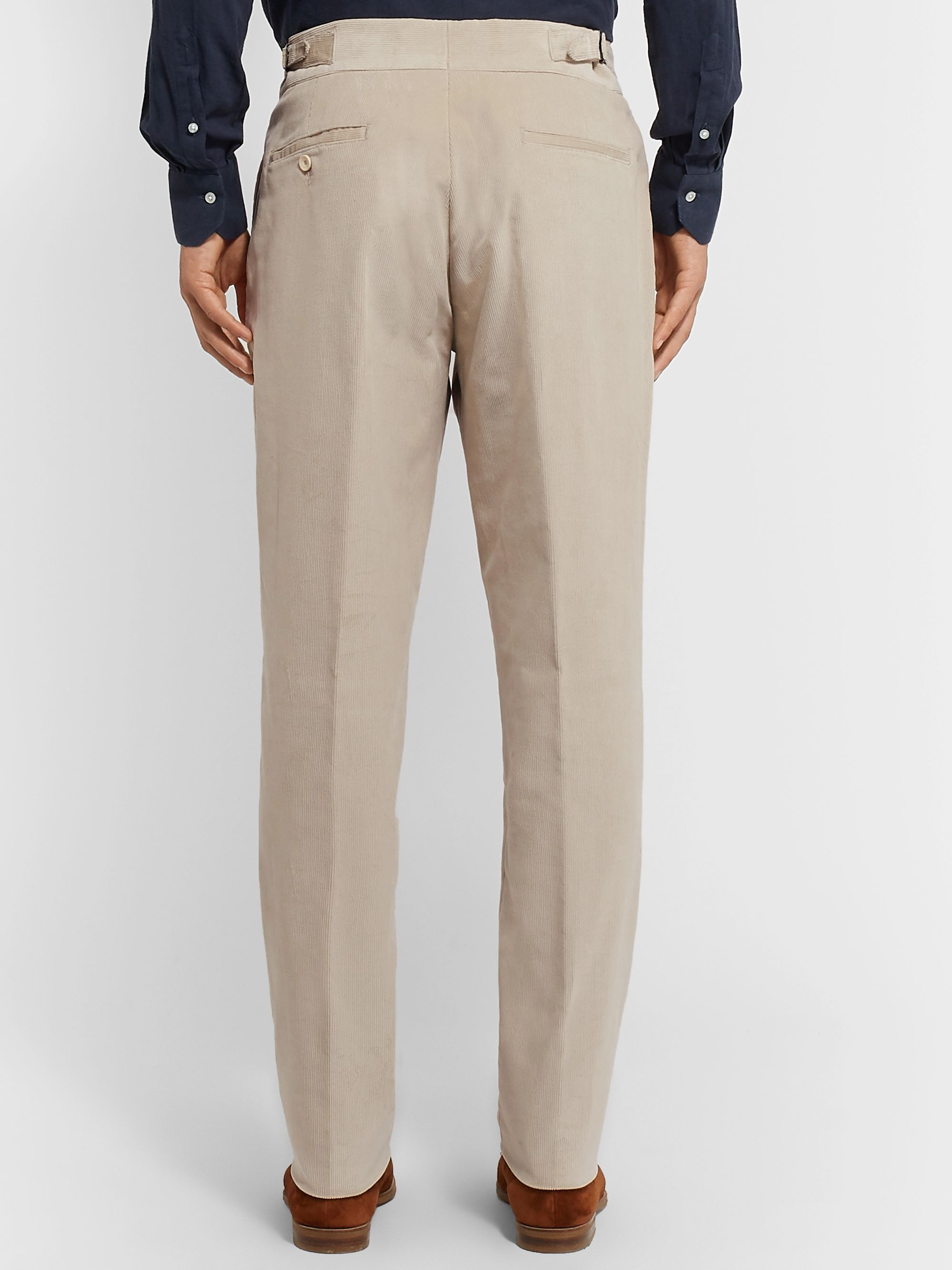 Caruso Tapered Pleated Cotton-Blend Corduroy Trousers