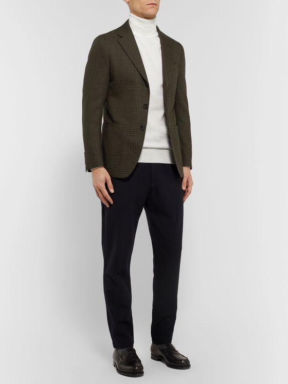 Caruso Brown Prince of Wales Checked Wool and Cotton-Blend Blazer