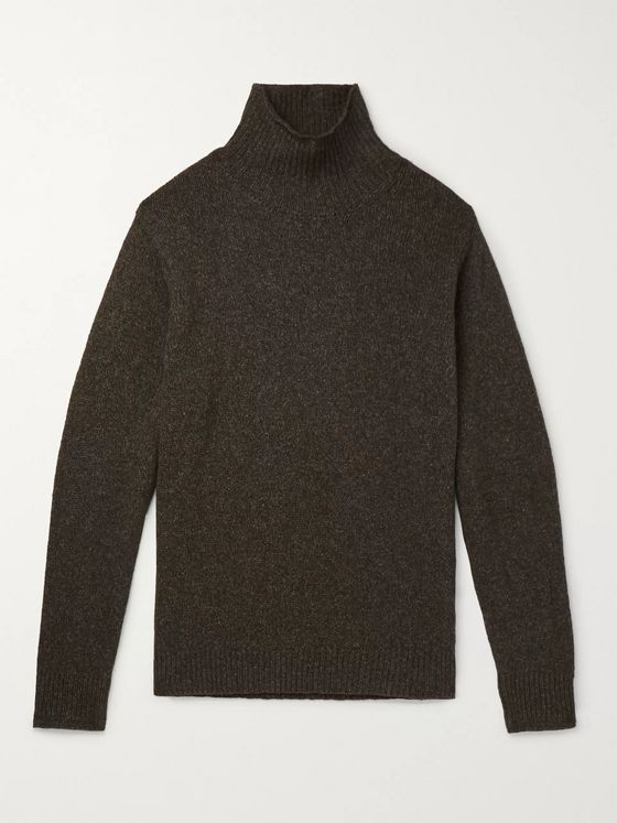 Caruso Mélange Wool and Cashmere-Blend Mock-Neck Sweater