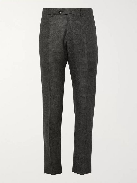 Caruso Grey Slim-Fit Prince of Wales Checked Camel Hair Suit Trousers
