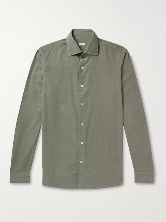 Caruso Slim-Fit Cotton-Corduroy Shirt