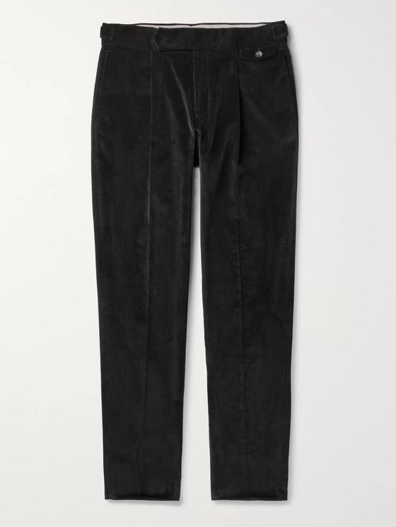 Caruso Black Tapered Pleated Cotton-Blend Corduroy Trousers