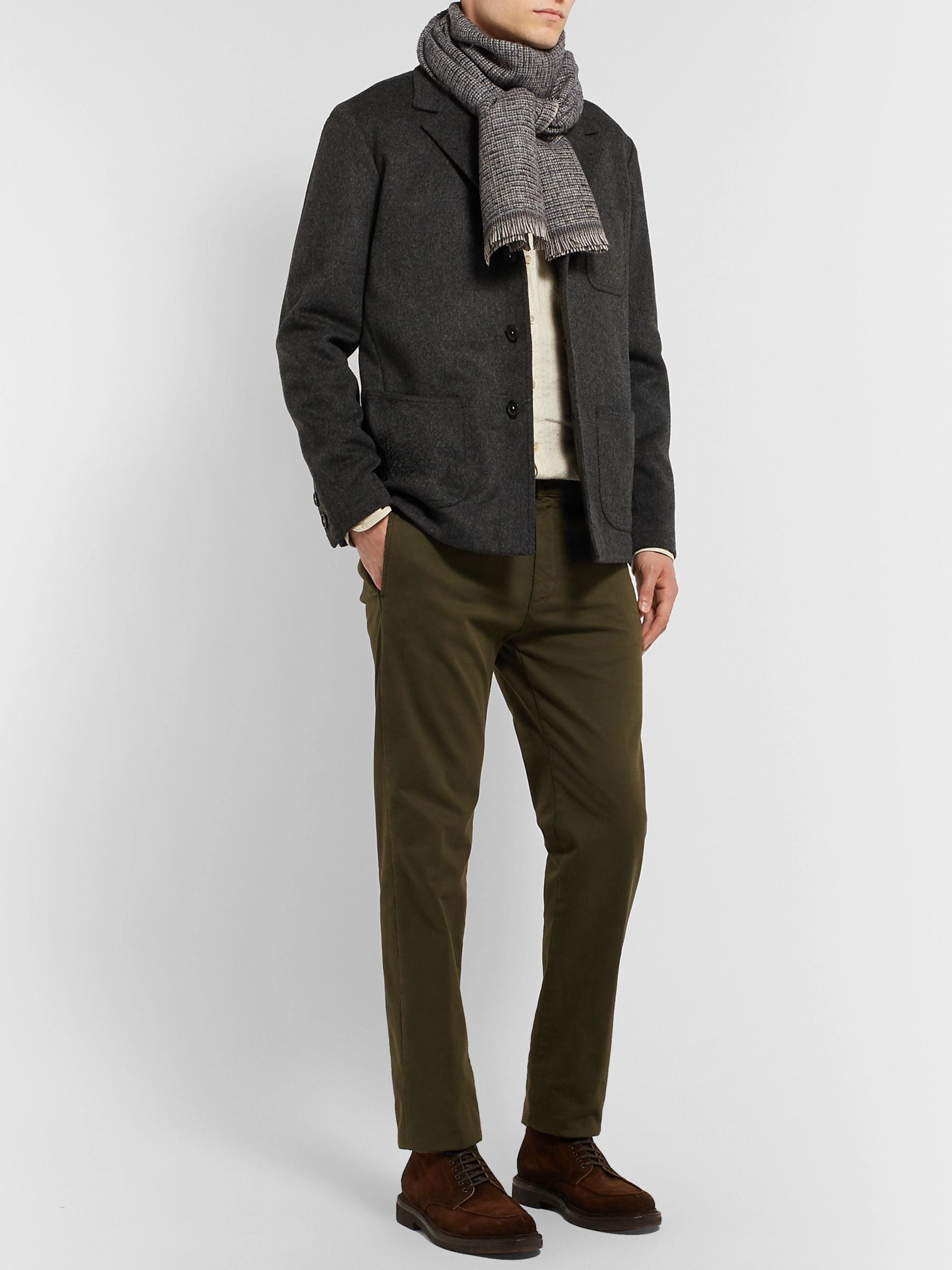 Caruso Checked Wool-Blend Scarf