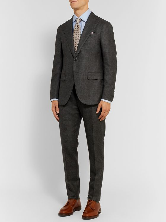 Caruso Grey Aida Slim-Fit Prince of Wales Checked Camel Hair Suit Jacket