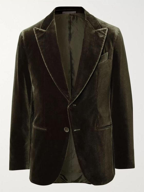 Caruso Dark-Green Slim-Fit Cotton-Blend Velvet Blazer