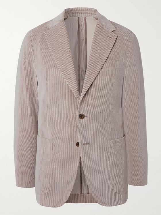 Caruso Cream Cotton and Cashmere-Blend Corduroy Blazer