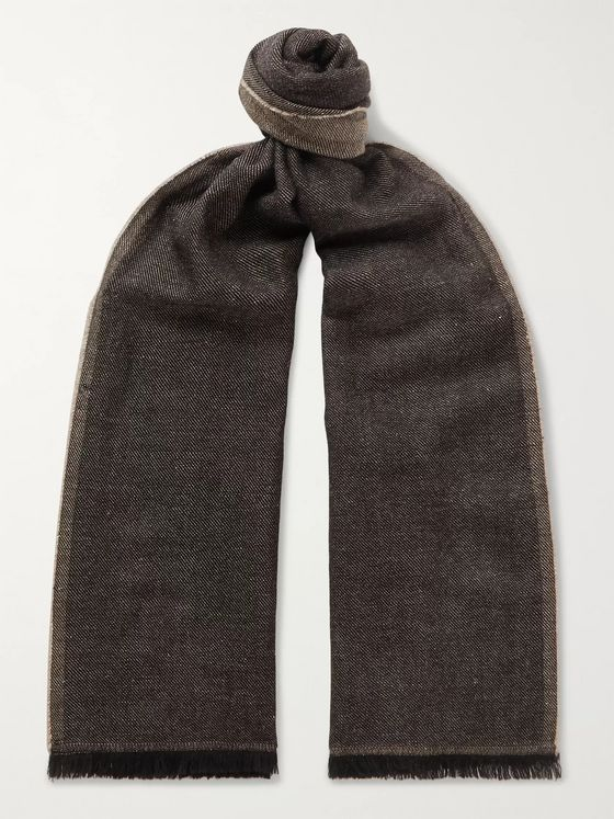 Caruso Fringed Mélange Wool and Linen-Blend Scarf