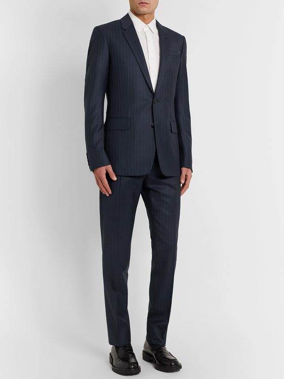 Berluti Navy Pleated Pinstriped Wool Suit Trousers