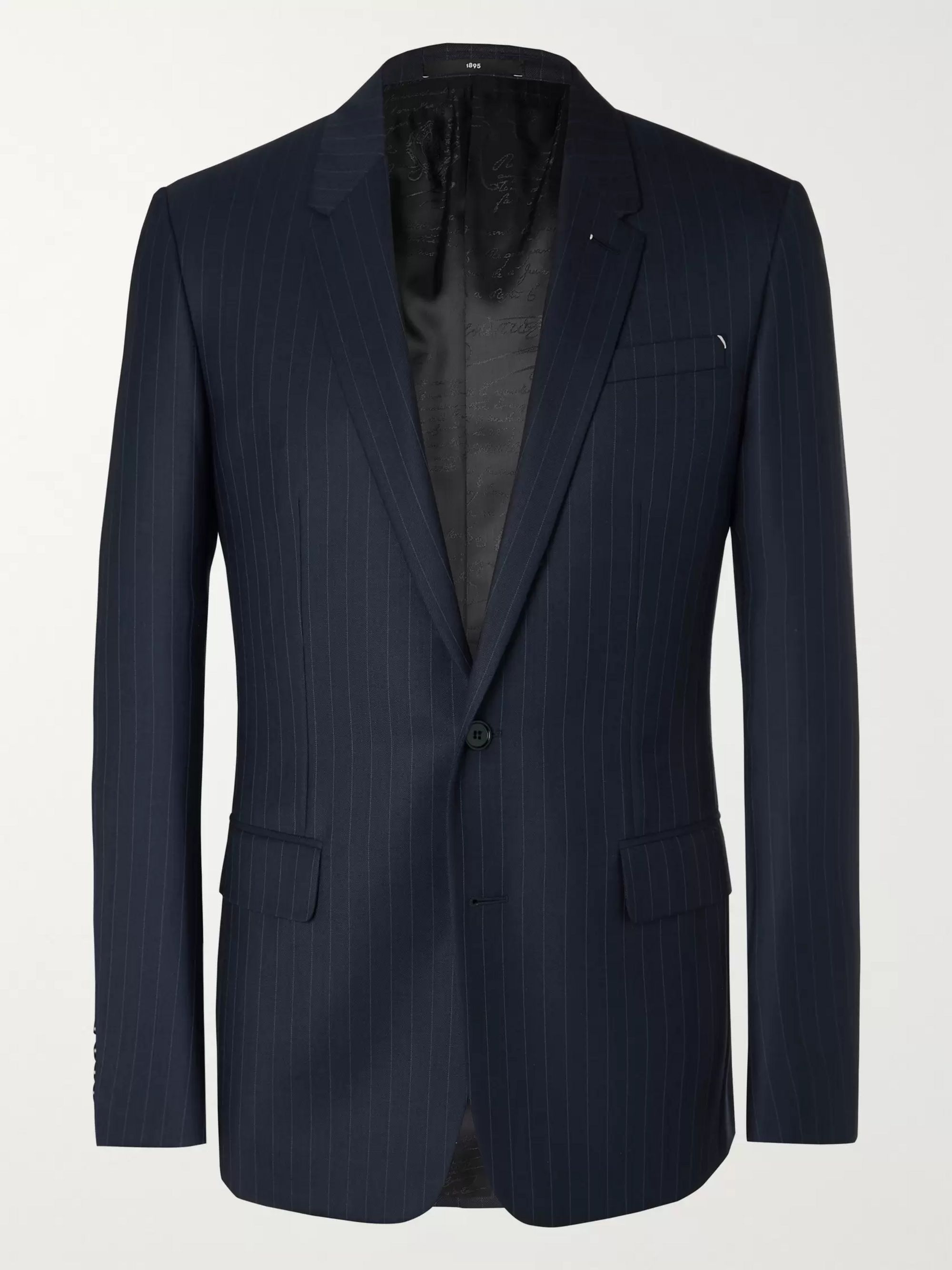 Berluti Navy Pinstriped Wool Suit Jacket