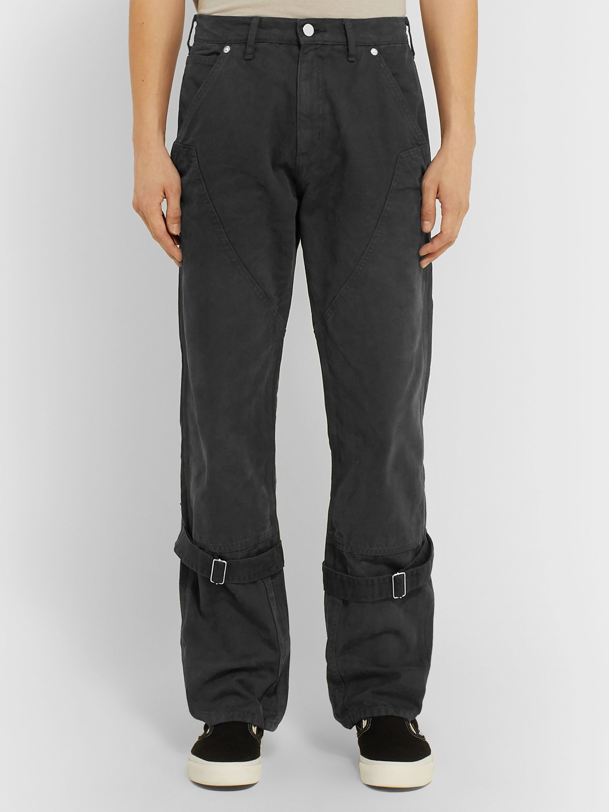 BILLY Charcoal Buckled Cotton-Canvas Trousers