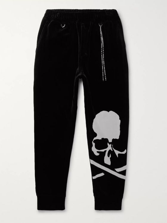 MASTERMIND WORLD Tapered Printed Cotton-Blend Velour Sweatpants