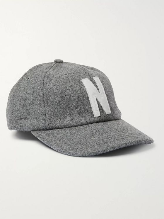 Norse Projects Logo-Appliquéd Melton Wool-Blend Baseball Cap