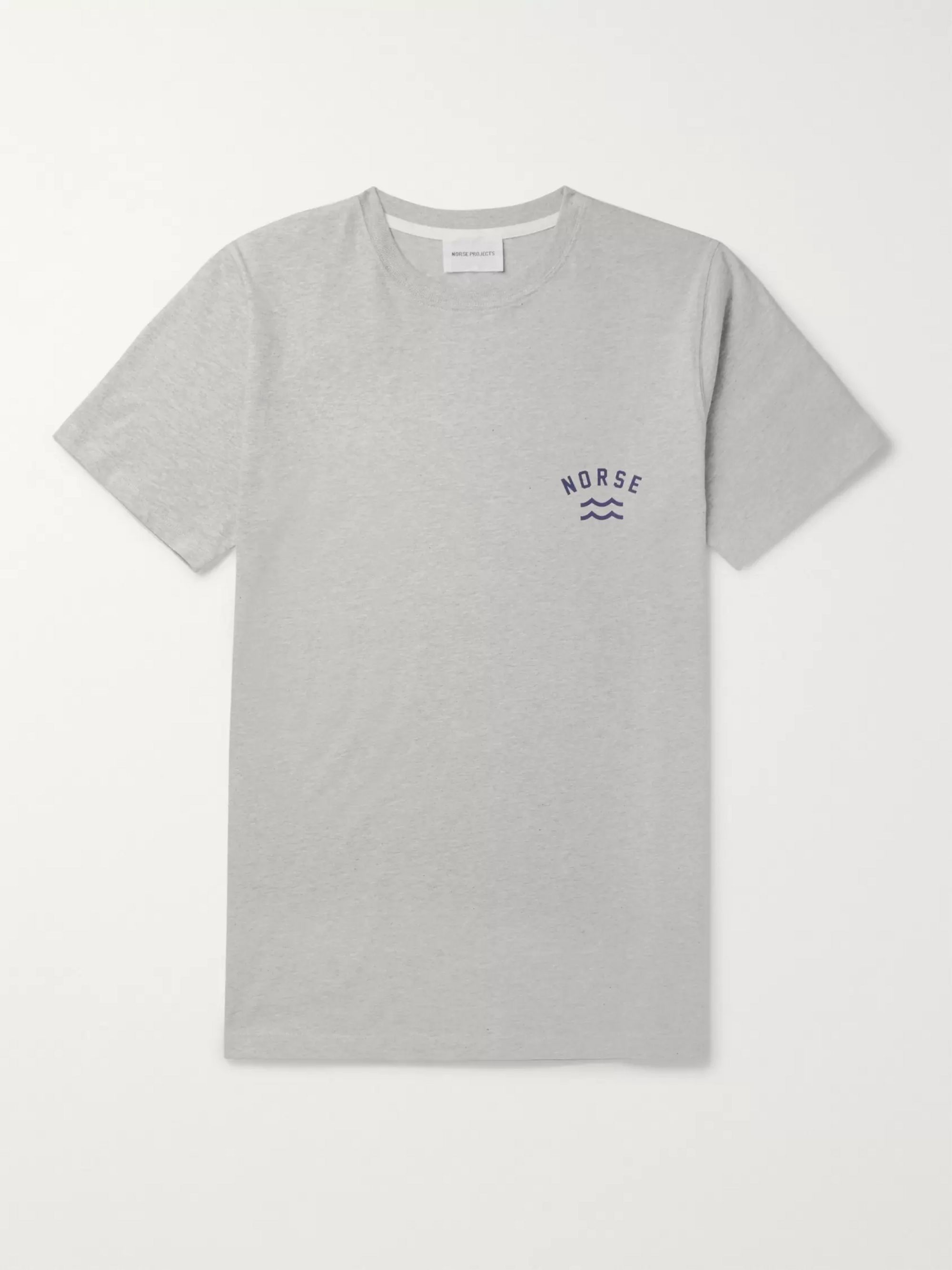 Norse Projects Niels Logo-Print Mélange Cotton-Jersey T-Shirt