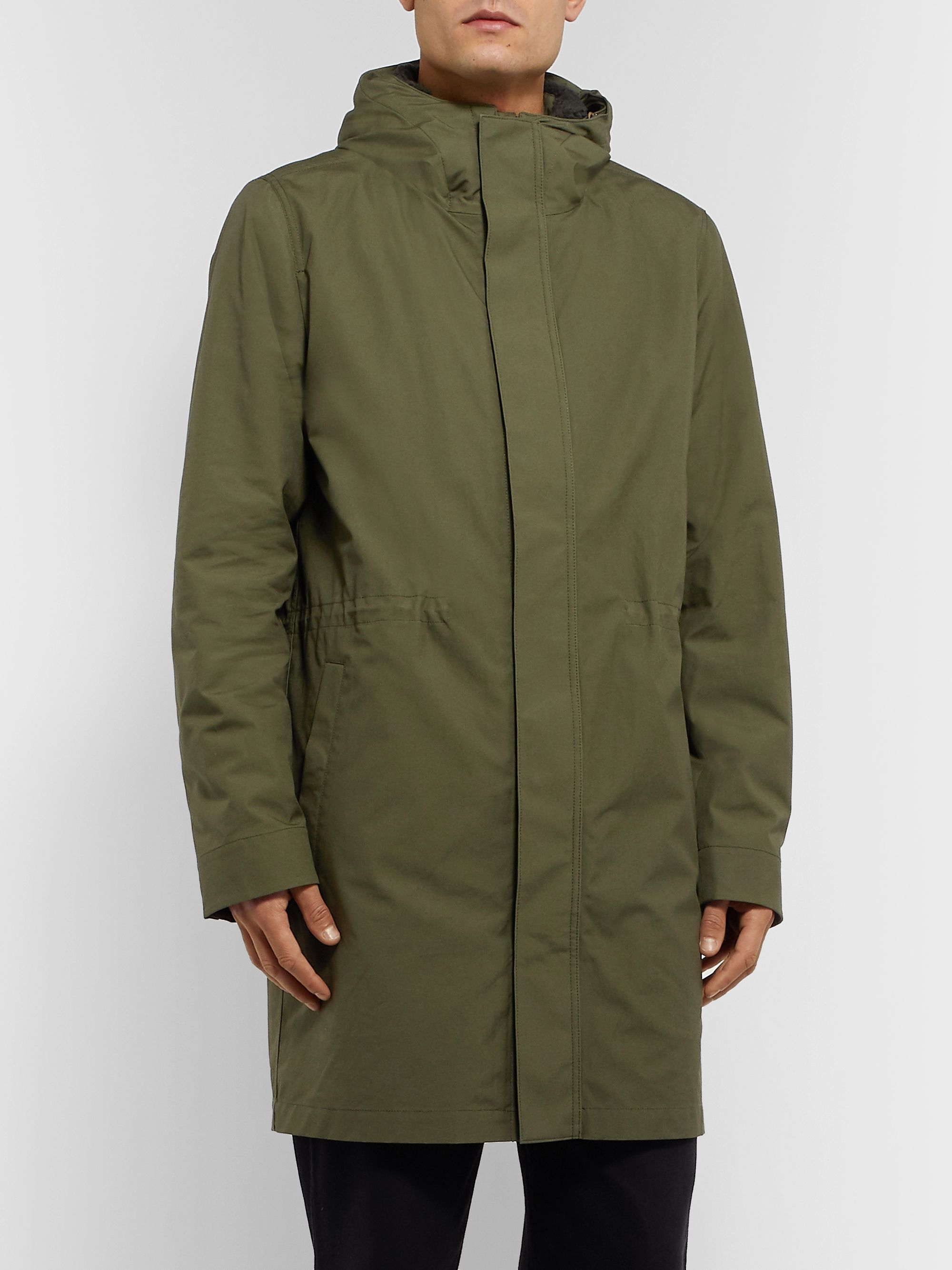 Norse Projects Elias Cambric Cotton Hooded Parka With Detachable Fleece Liner