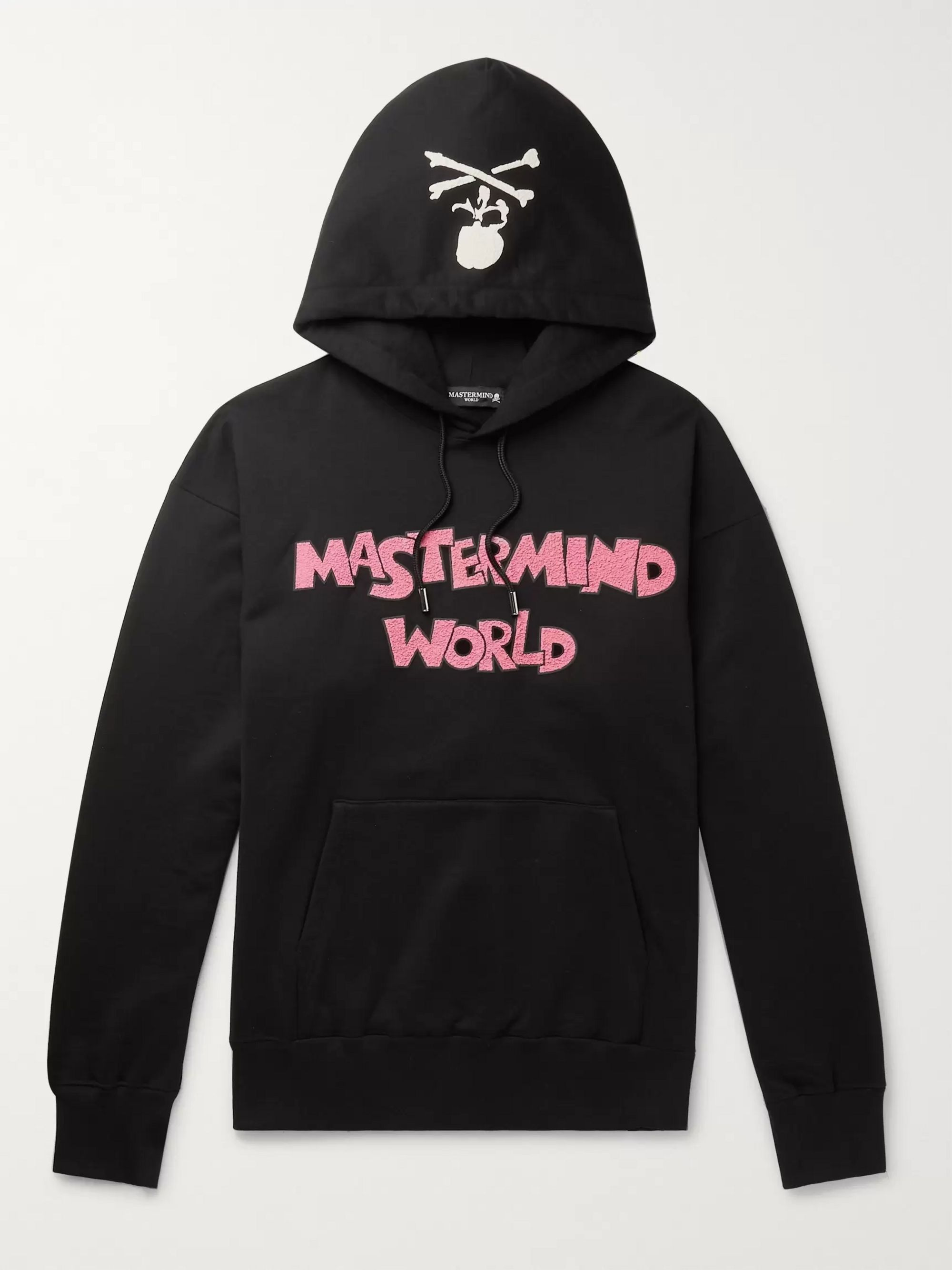 MASTERMIND WORLD Oversized Logo-Flocked Cotton-Jersey Hoodie