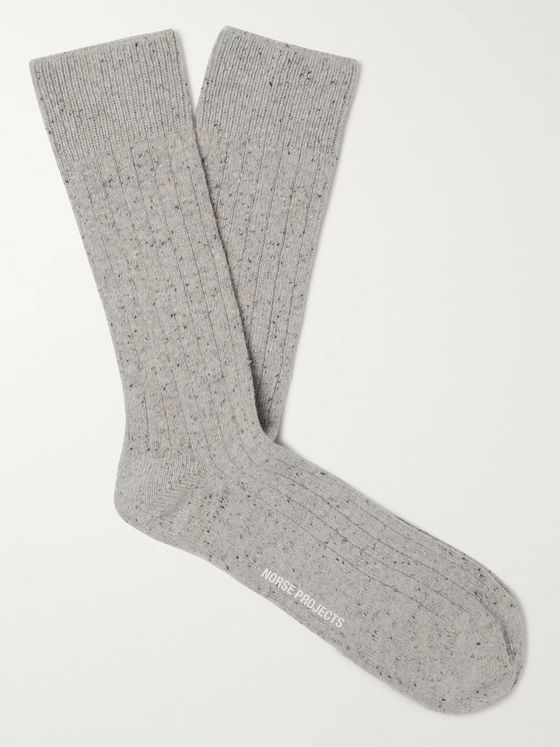 Norse Projects Bjarki Neps Ribbed Mélange Wool-Blend Socks