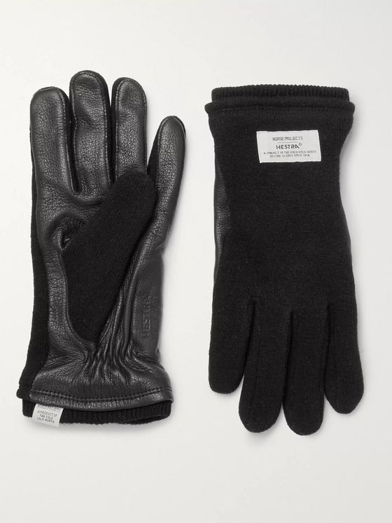 Norse Projects + Hestra Leather-Panelled Knitted Gloves