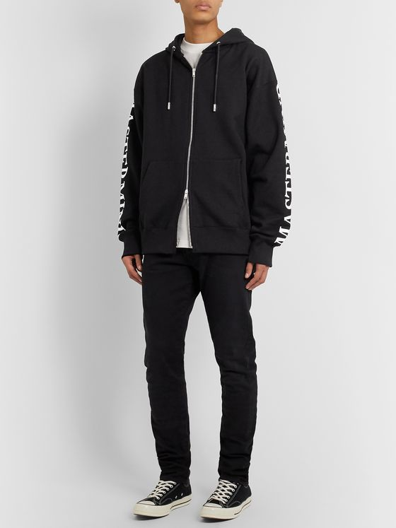MASTERMIND WORLD Oversized Logo-Print Loopback Cotton-Jersey Zip-Up Hoodie