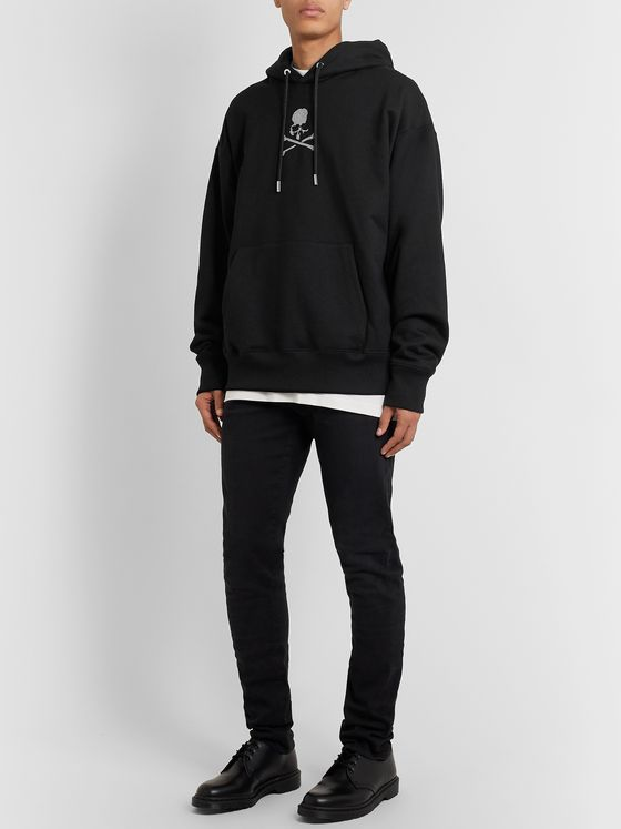 MASTERMIND WORLD Oversized Glittered Logo-Print Loopback Cotton-Jersey Hoodie