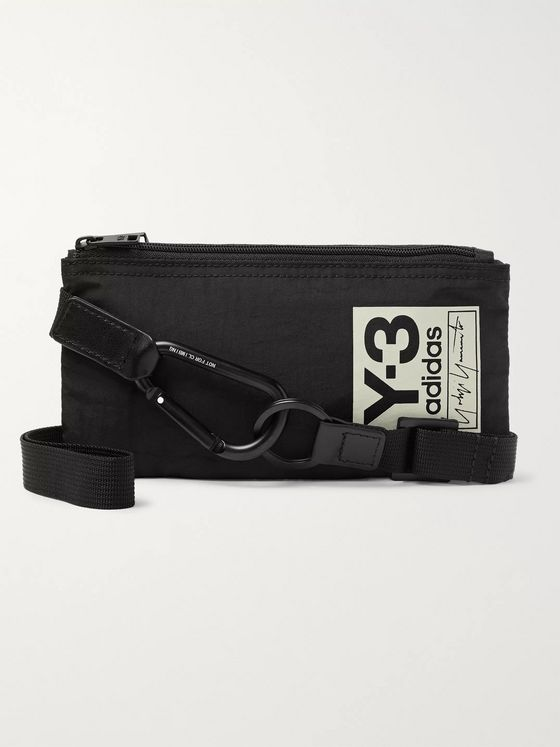 Y-3 Logo-Print Nylon Travel Wallet with Lanyard