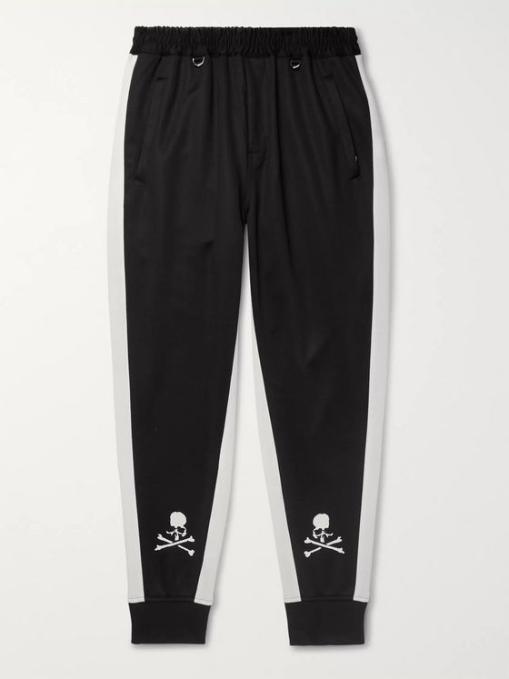 MASTERMIND WORLD Tapered Striped Printed Tech-Jersey Track Pants