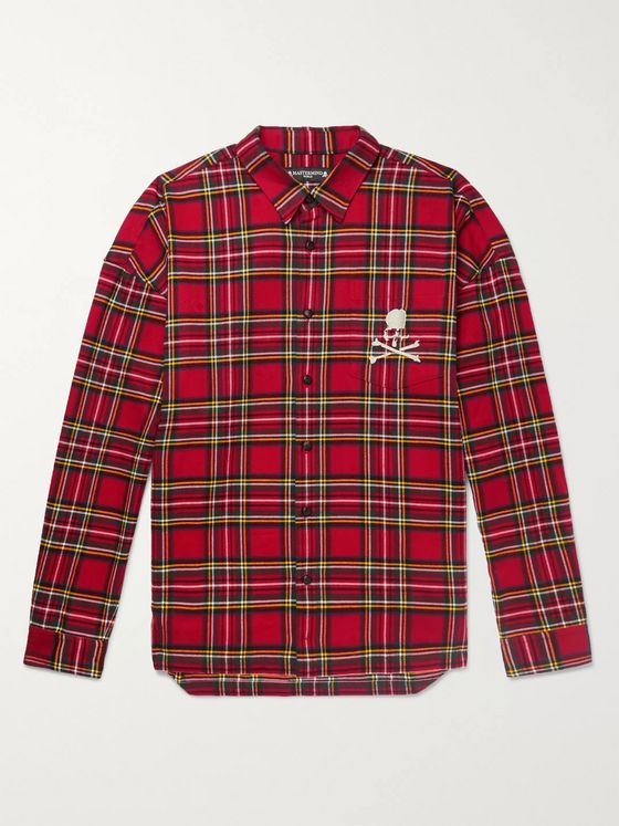MASTERMIND WORLD Oversized Zip-Detailed Logo-Embroidered Checked Cotton-Flannel Shirt