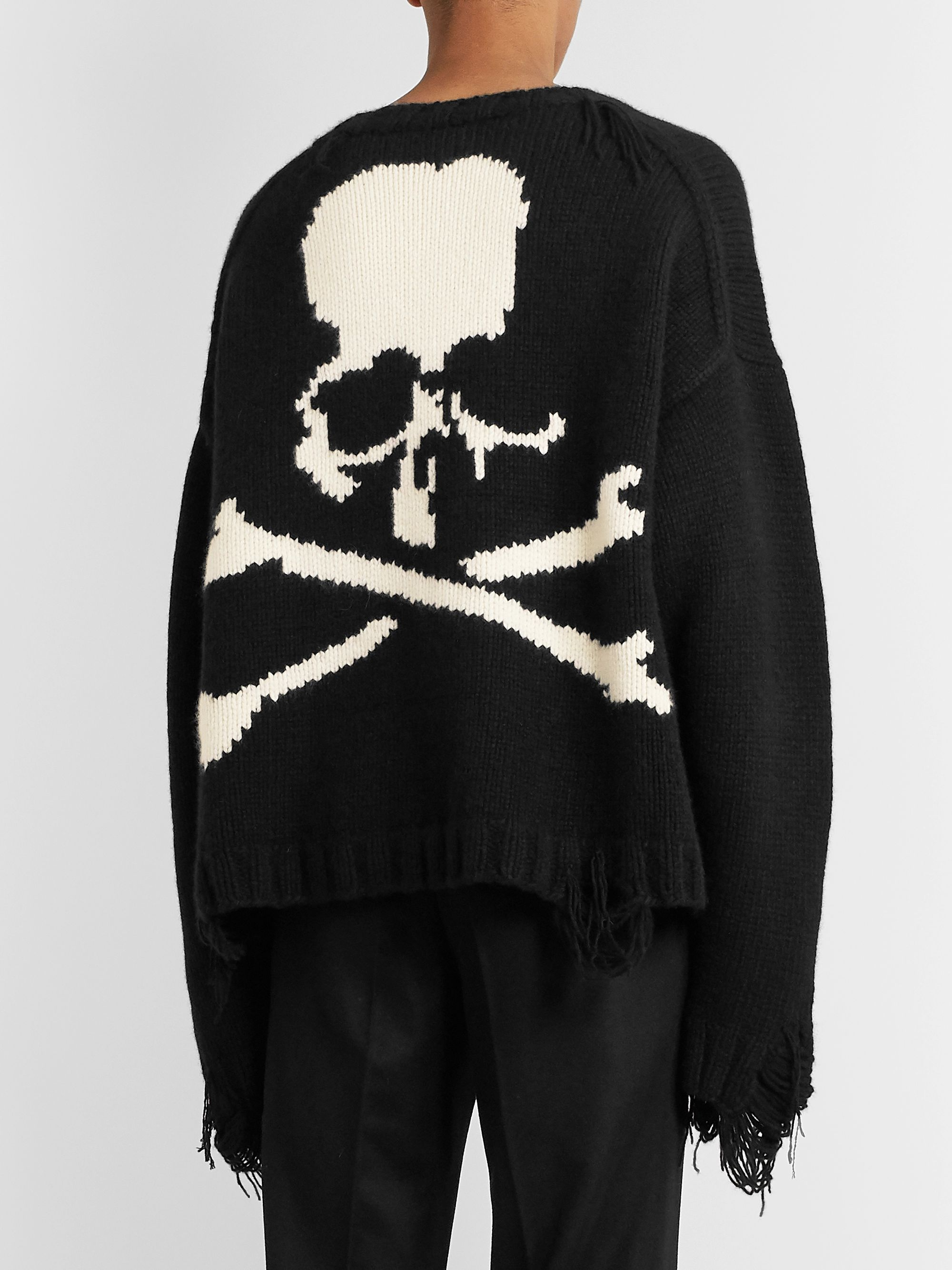 MASTERMIND WORLD Oversized Distressed Intarsia Cashmere Sweater
