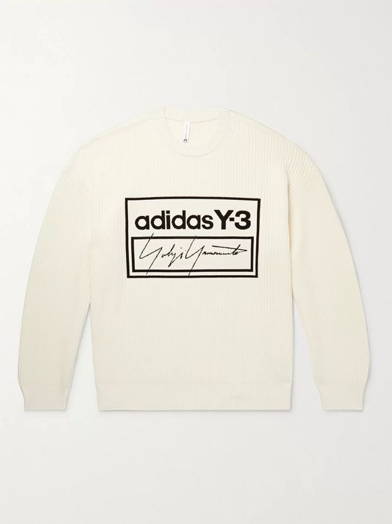Y-3 Oversized Logo-Jacquard Ribbed Cotton-Blend Sweater