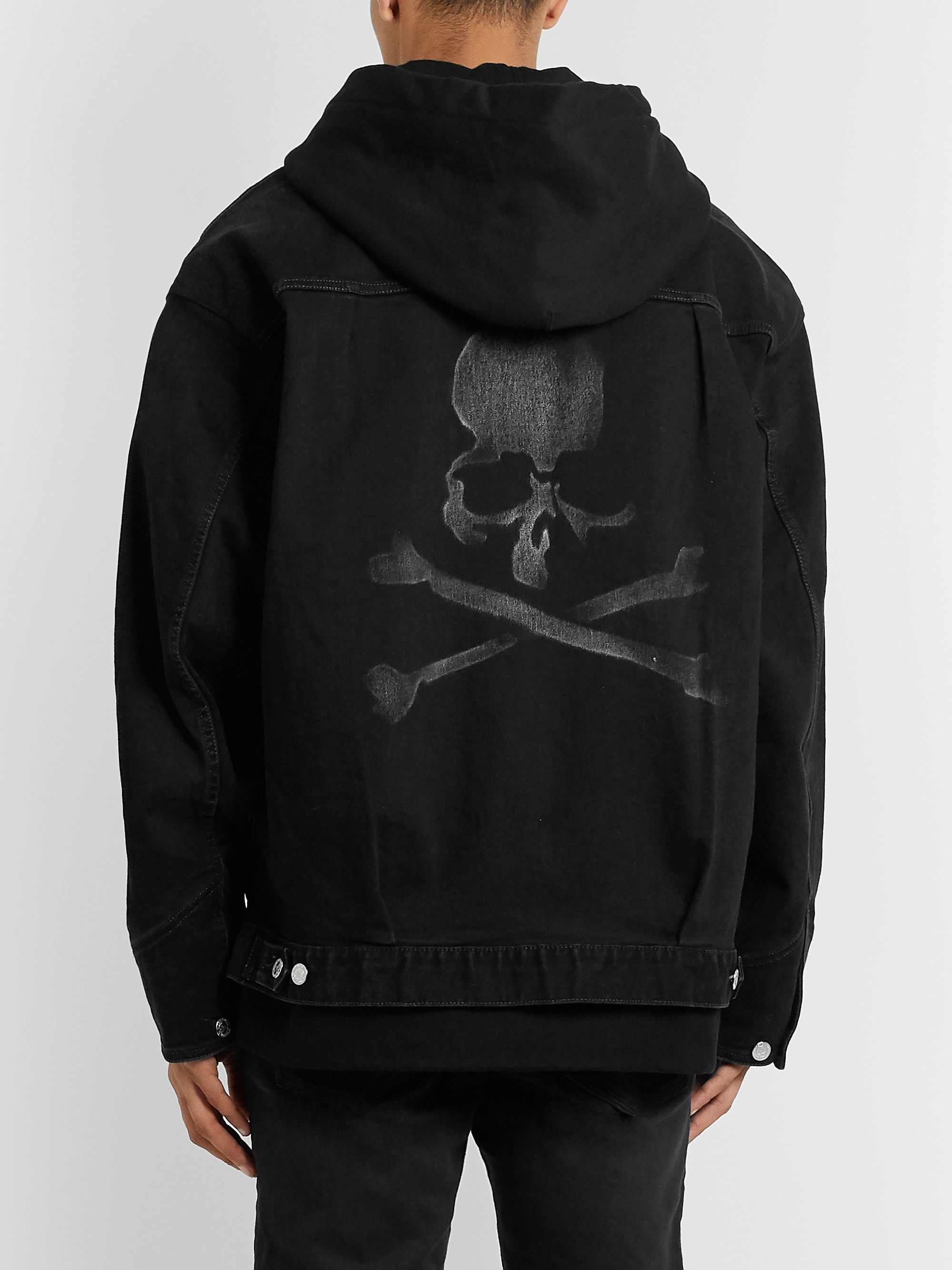 MASTERMIND WORLD Oversized Layered Printed Denim and Cotton-Jersey Hooded Jacket