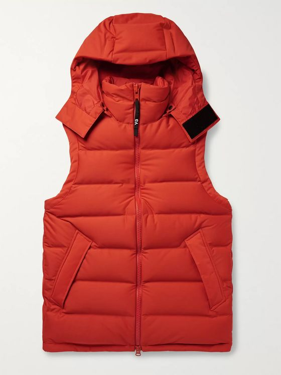 Y-3 Logo-Print Quilted Shell Down Hooded Gilet
