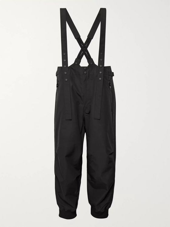 Y-3 Grosgrain-Trimmed Cotton and Nylon-Blend Overalls