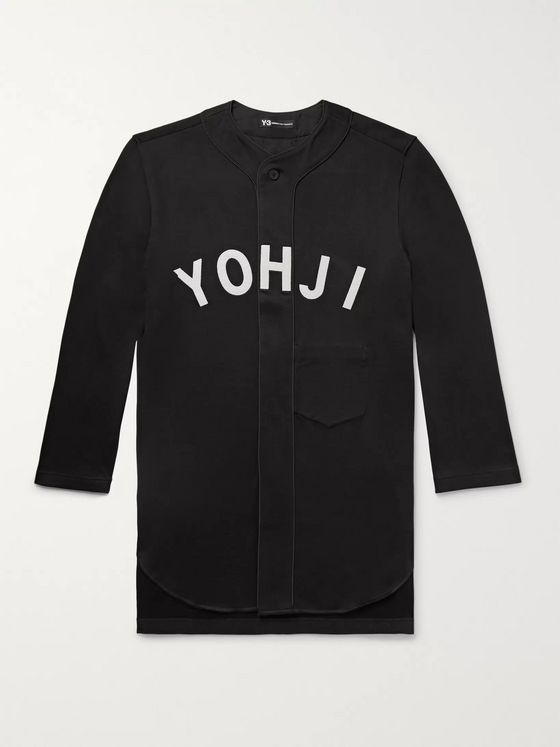 Y-3 Oversized Appliquéd Loopback Cotton-Jersey Baseball Shirt