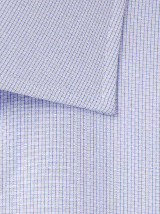 Turnbull & Asser Blue Slim-Fit Cutaway-Collar Micro-Checked Cotton-Poplin Shirt