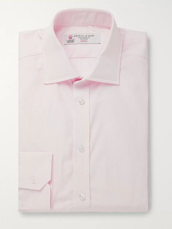 Turnbull & Asser Light-Pink Slim-Fit Cutaway-Collar Striped Cotton-Poplin Shirt