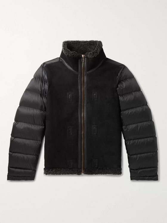 Ten C Shearling-Lined Suede and Quilted Shell Down Liner