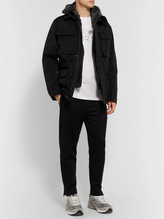 Ten C Shearling-Lined Suede and Quilted Shell Hooded Down Liner