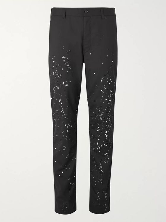 Comme des Garçons HOMME Black Slim-Fit Paint-Splattered Wool Trousers