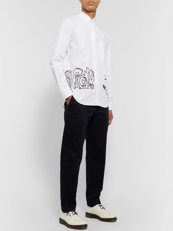 Comme des Garçons HOMME Button-Down Collar Printed Cotton Oxford Shirt