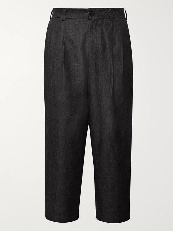 Comme des Garçons HOMME Cropped Garment-Dyed Cotton and Nylon-Blend Twill Trousers