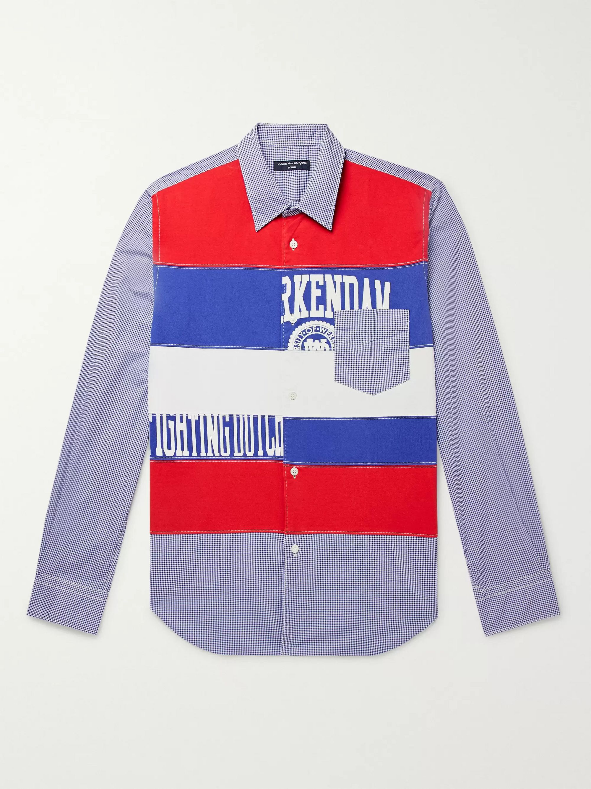 Comme des Garçons HOMME Slim-Fit Panelled Printed Cotton-Jersey and Checked Cotton-Poplin Shirt