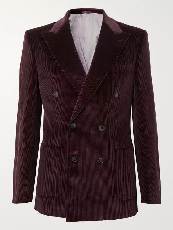 Très Bien Purple Double-Breasted Cotton-Corduroy Blazer