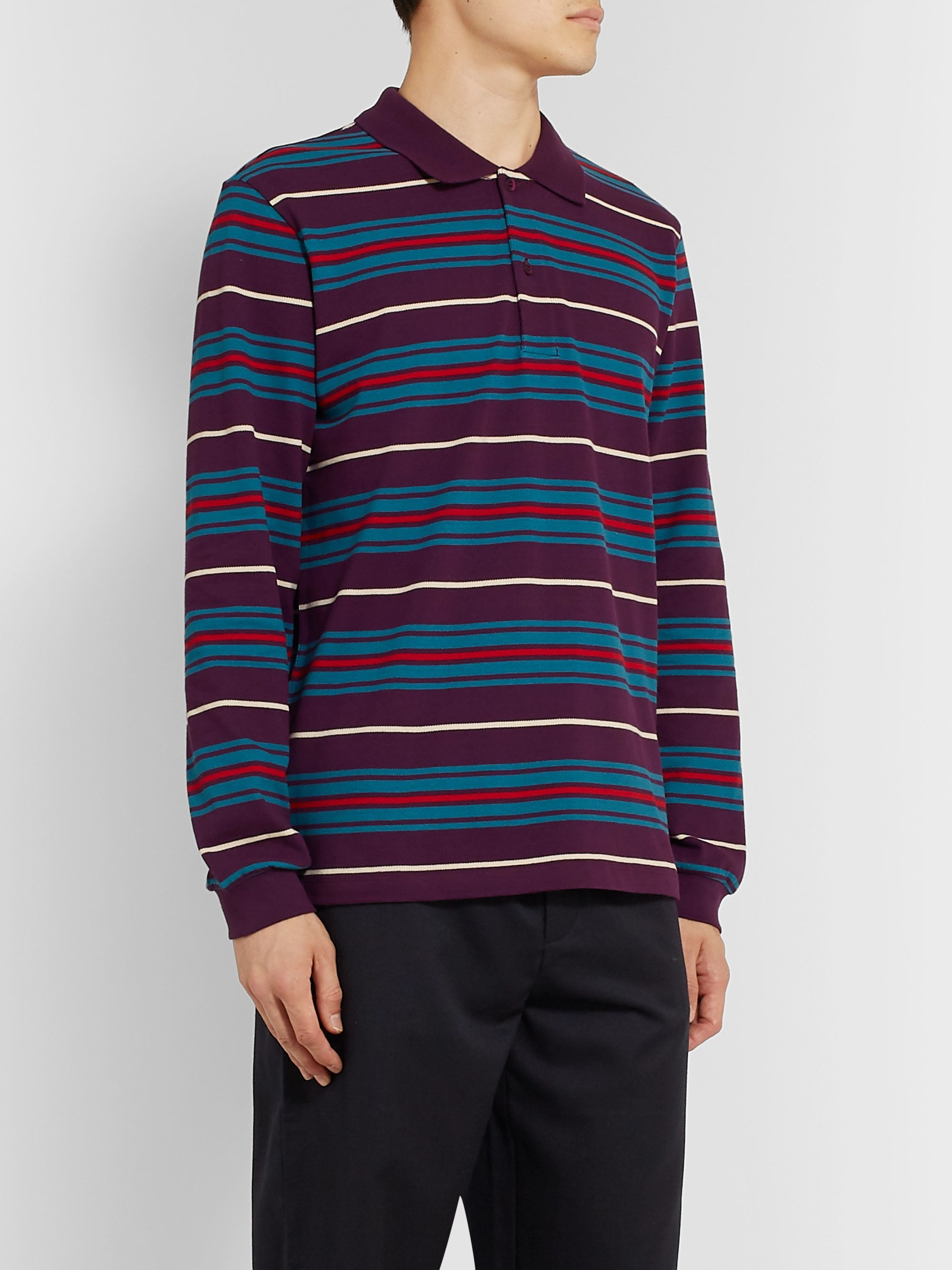 Très Bien Striped Cotton-Piqué Polo Shirt