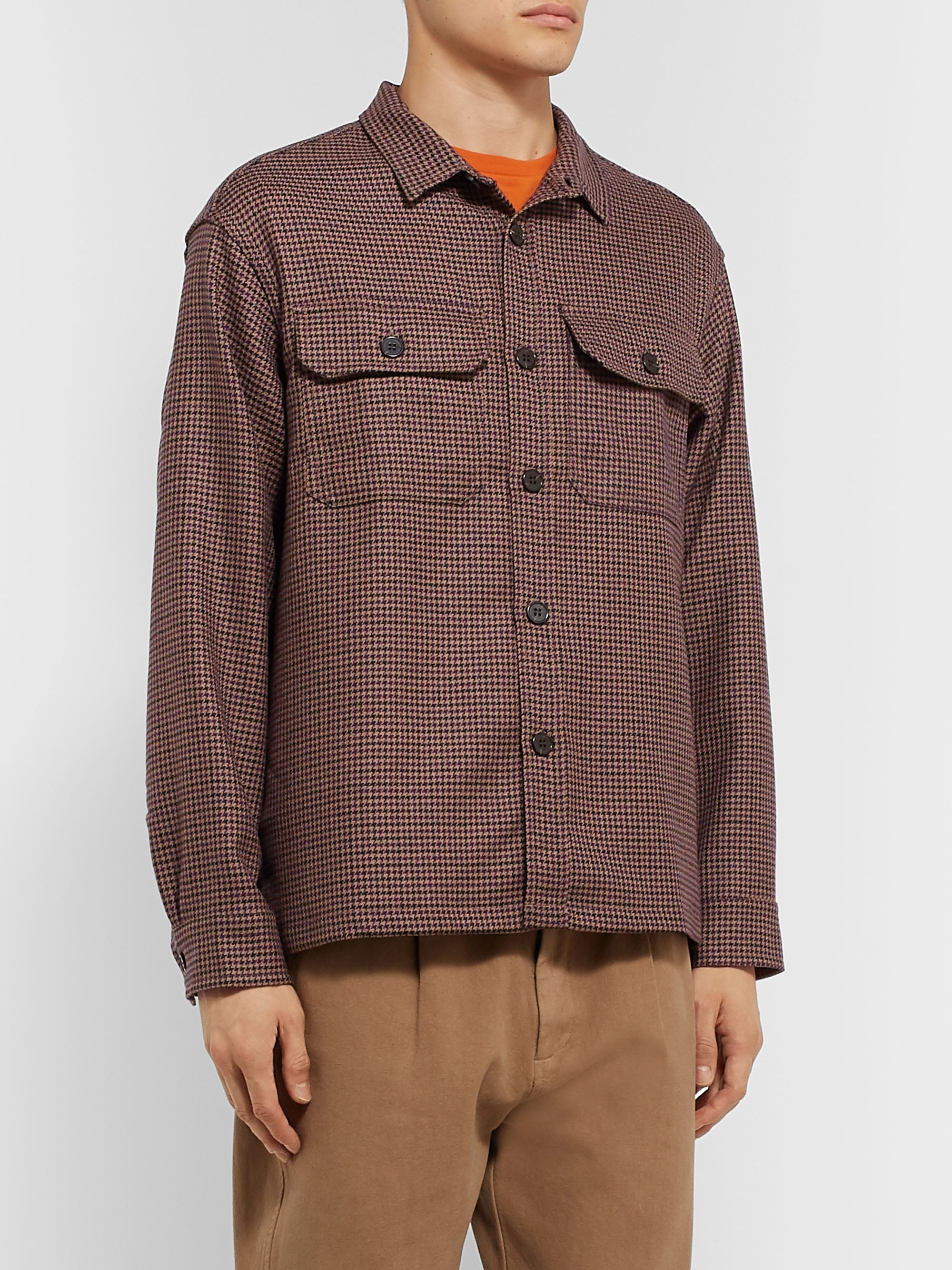 Très Bien Houndstooth Virgin Wool Overshirt