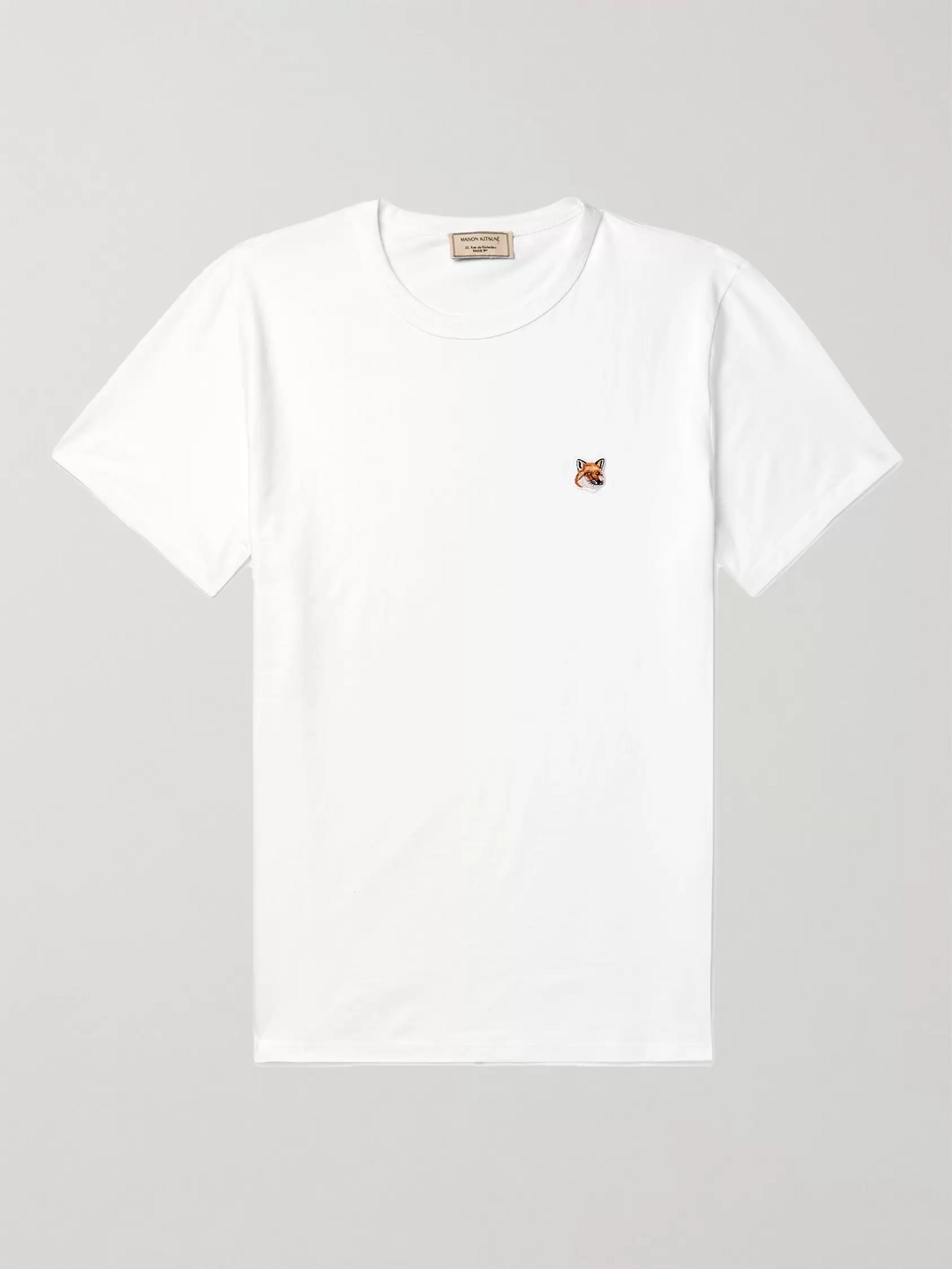 Maison Kitsuné Appliquéd Cotton-Jersey T-Shirt