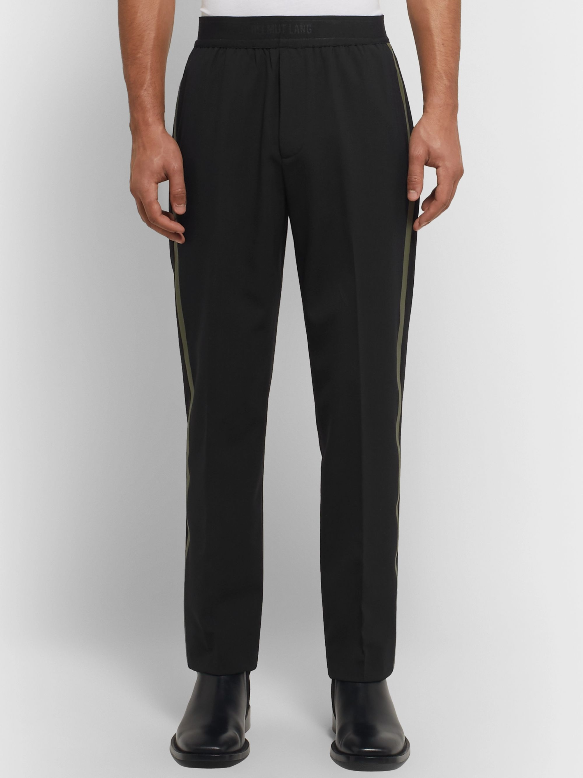 Helmut Lang Tapered Striped Stretch-Wool Trousers