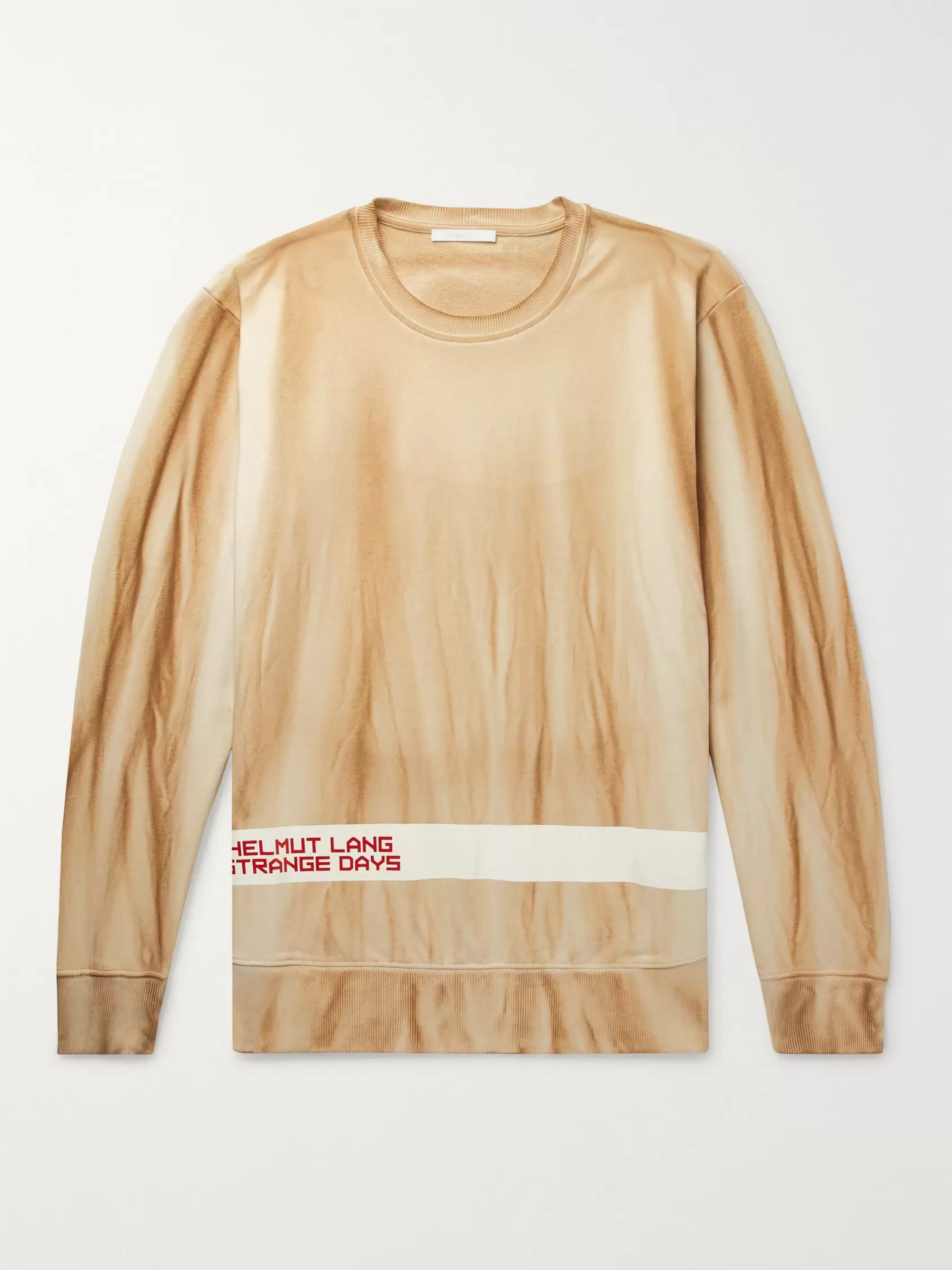 Helmut Lang Logo-Print Tie-Dyed Loopback Cotton Jersey Sweatshirt